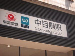 中目黒駅の看板